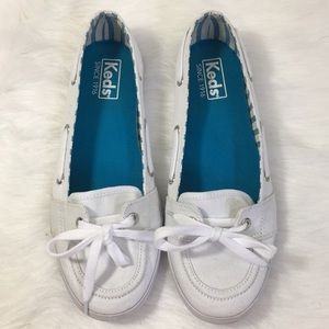 Keds Womens Boat Shoes Size 7 White Canvas